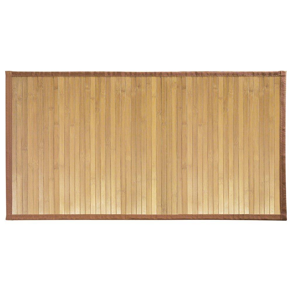 "iDesign Formbu Bamboo Floor Mat Non-Skid, Water-Repellent Runner Rug for Bathroom, Kitchen, Entryway, Hallway, Office, Mudroom, Vanity, 34"" x 21"", Natural Wood"