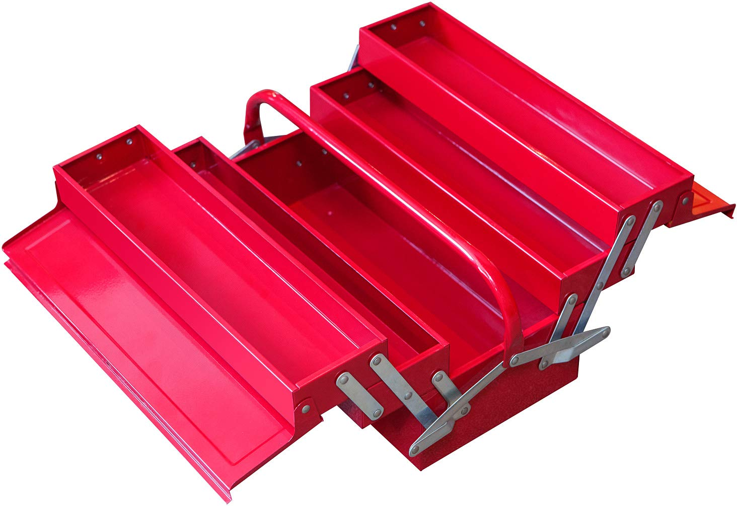 """BIG RED ATB123R Torin 16"""" Cantilever Style Portable Steel Tool Box with Trays and Metal Latch Closure, Red"""