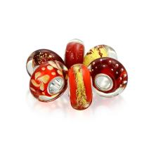 Orange Gold Red Foil Murano Glass Mix Of 6 Sterling Silver Spacer Bead Fits European Charm Bracelet For Women For Teen