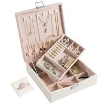 DerBlue Jewelry Case PU Leather Two-Layers Jewelry Box for Jewelry Organizer and Storage(Pink)