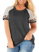 AURISSY Women's Plus-Size Tops Summer T-Shirts Color Block Tee Raglan Tunics