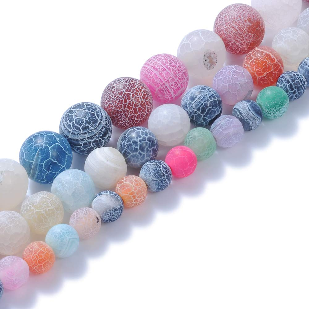 """Natural Stone Beads 8mm Colorful Frosted Gemstone Round Loose Beads Crystal Energy Stone Healing Power for Jewelry Making DIY,1 Strand 15"""""""