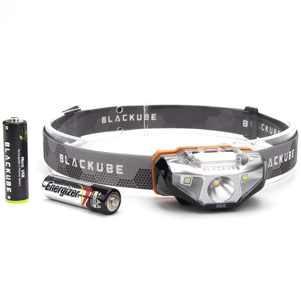 Rechargeable Headlamp Blackube 3 LED 4 Modes Super Bright Headlight With Batteries Zoomable Adjustable Best For Camping Hiking Working (AA Headlamp)