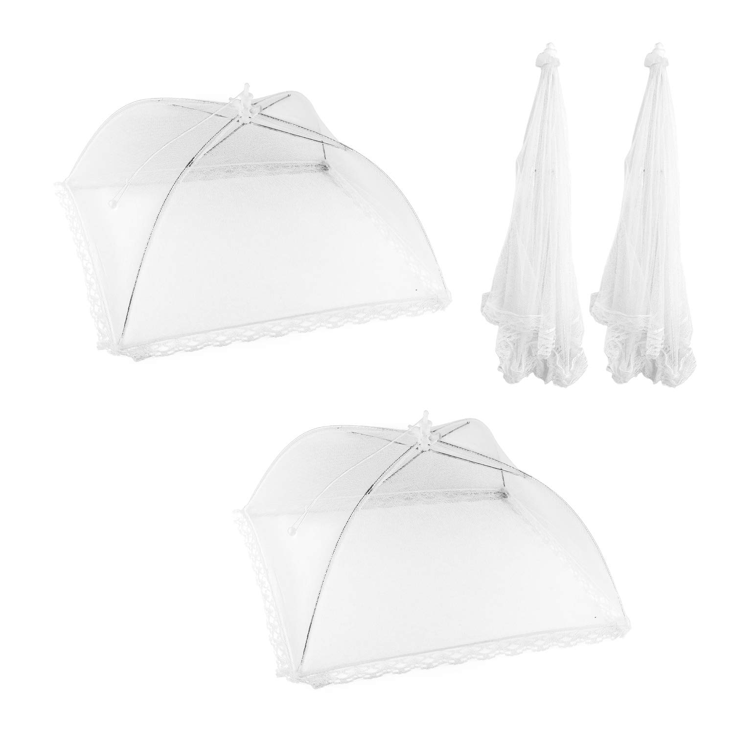 Large Pop-Up Mesh Wire Frame Screen Food Tent Plate Covers for Outdoor Picnic, Barbecue, Camping, Fruit Dinner Protection, Wedding, Birthday, Party & Event Supplies (2 Pack)