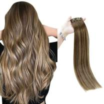 Full Shine 16 Inch Bayalage Seamless Clip In Human Hair Color 4 Medium Brown Fading To 24 Honey Blonde and 4 Highlighted PU Clip In Hair Extensions 100 Grams 8 Pcs Remy Hair Skin Weft Clip Ins