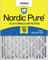 Nordic Pure 16x25x4 MERV 10 Pleated AC Furnace Air Filter 1 Pack