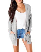 Tutorutor Womens Chunky Cardigan Sweaters Button Down Boyfriend Knitted Jumpers Tops