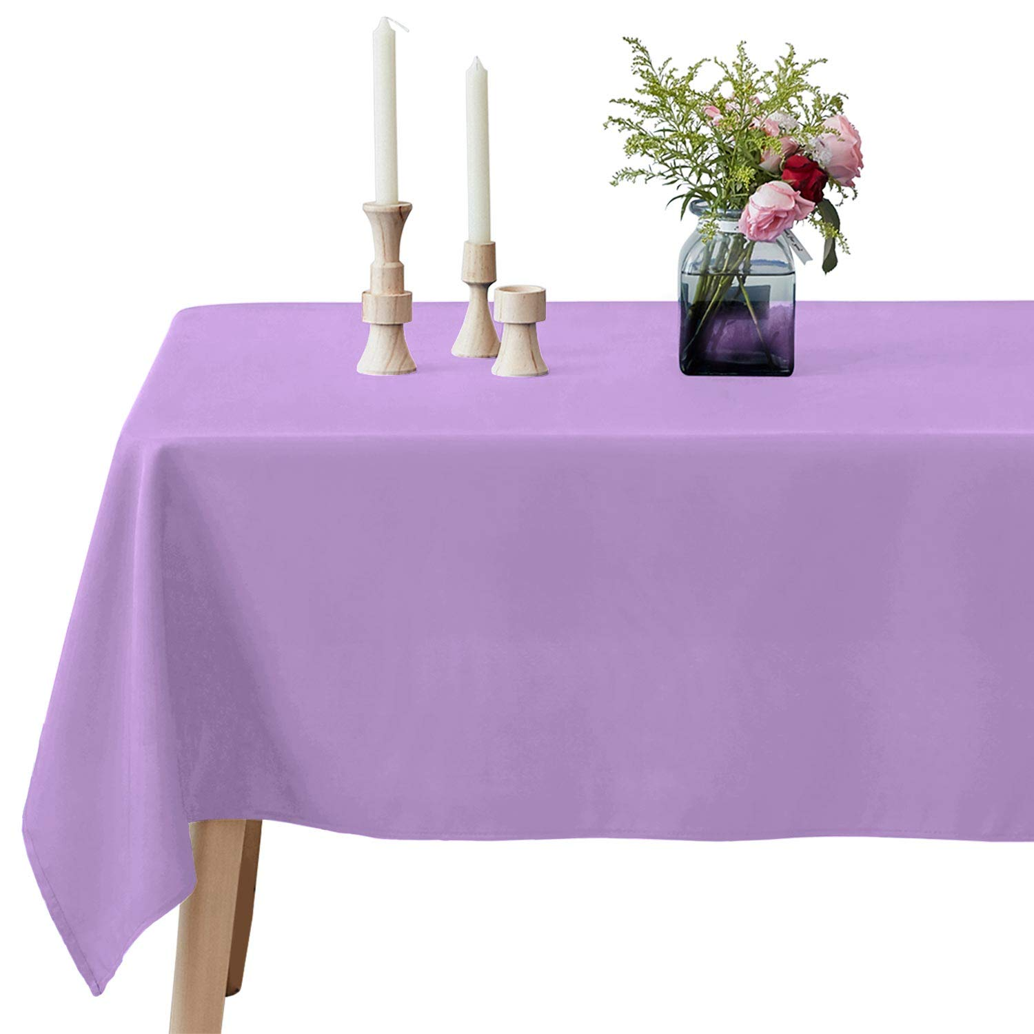 VEEYOO Rectangle Tablecloth - 60 x 126 Inch Polyester Table Cloth for 6 Foot Table - Soft Washable Oblong Lavender Table Cloths for Wedding, Parties, Restaurant, Dinner, Buffet Table and More