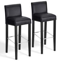 COSTWAY 40'' Bar Stool Modern Contemporary Bar Height Backed Padded Seat Pub Bistro Kitchen Dining Side Chair Barstools with Solid Wood Legs (Black, 2)
