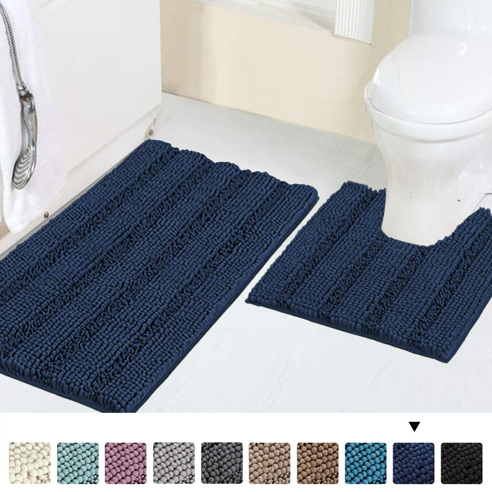"""Luxury Chenille Bath Rug Sets for Bathroom Extra Absorbent Bath Mat with Toilet Floor Rug, Non-Slip, Machine-Washable, Shaggy Carpet Rug Soft, Plush Rugs for Tub Shower 20"""" x 32""""/20"""" x 20"""", Navy"""