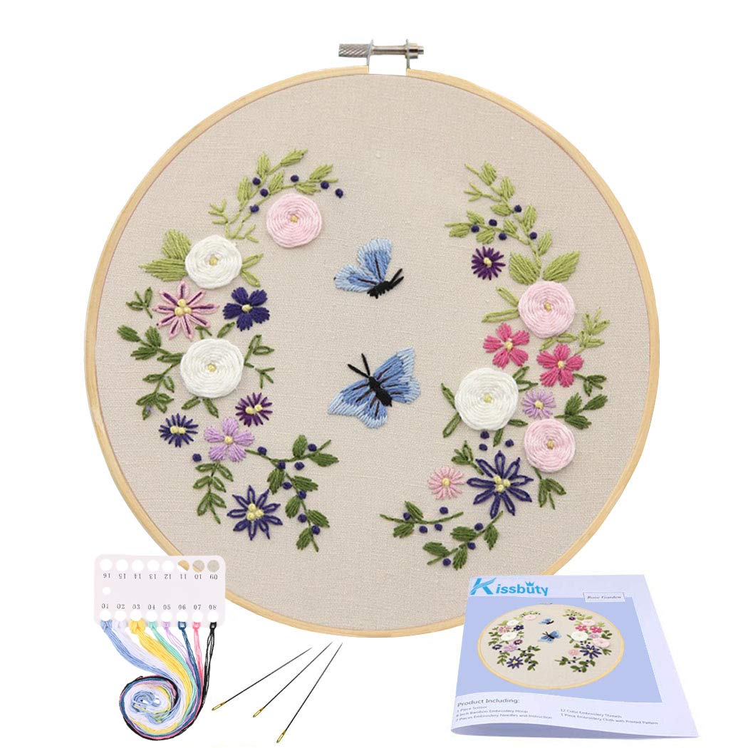 Full Range of Embroidery Starter Kit with Pattern, Kissbuty Cross Stitch Kit Including Embroidery Cloth with Floral Pattern, Bamboo Embroidery Hoop, Color Threads and Tools Kit (Flower Butterfly)