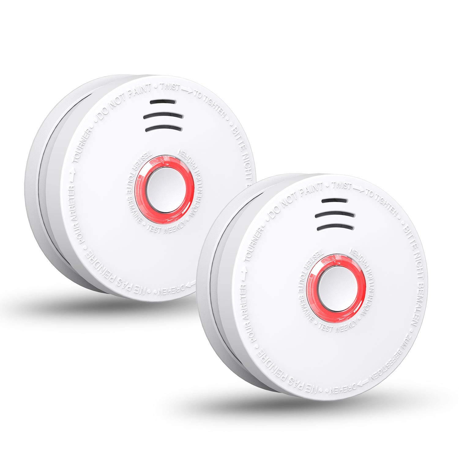 SITERWELL Smoke Detector - Replacable 9V Battery Operated Smoke Alarm with Photoelectric Sensor, 10-Year Life Time Fire Alarm with UL Listed, Fire Safety for Kitchen,Home,Hotel, GS528A, 2 Packs