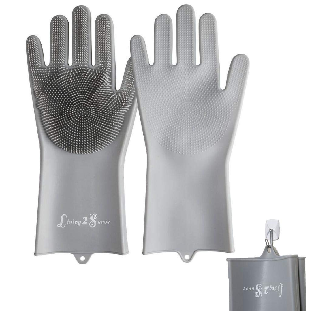 Dish Wash Gloves - Magic Silicone Dishwashing Gloves with Extended Scrubbers   Living2Serve Multipurpose Reusable Dish Wash Glove with Brush Bristles are Great for Kitchen, Bathroom, Pet Care - Gray