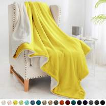 """Walensee Sherpa Fleece Blanket (Twin Size 60""""x80"""" Yellow) Plush Throw Fuzzy Super Soft Reversible Microfiber Flannel Blankets for Couch, Bed, Sofa Ultra Luxurious Warm and Cozy for All Seasons"""