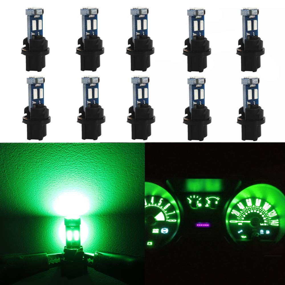 WLJH High Bright Green Canbus T5 Dash Light Bulbs Car Instrument Panel Cluster Gauge Warning Indicator Lights 73 74 286 2721 Led Bulb with PC74 Twist Lock Socket,Pack of 10