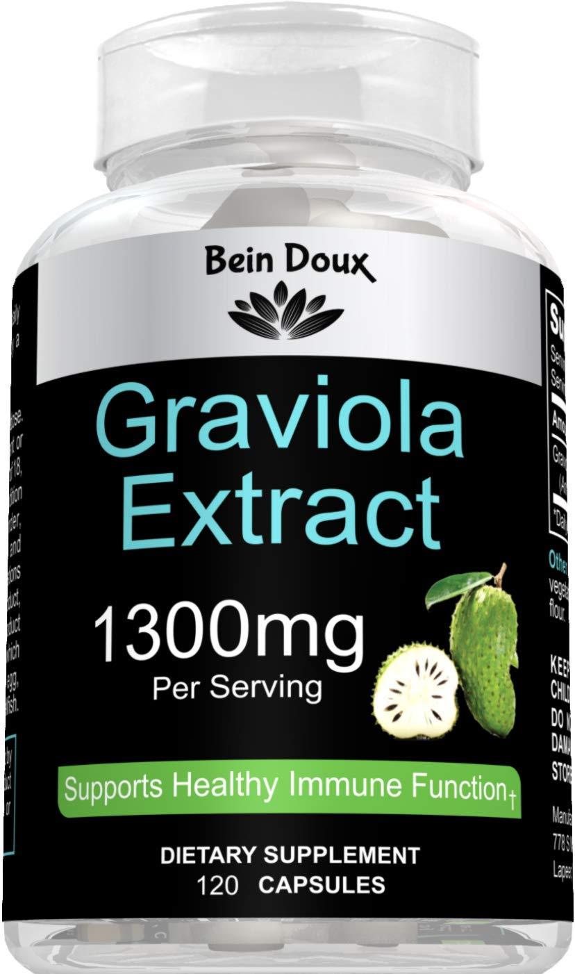 Graviola Capsules 1300mg - 120 Pure Natural Soursop Capsules (Leaves Powder) - Powerful Antioxidant - Organic Guanabana Leaves Supplement (Annona Muricata)