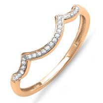 Dazzlingrock Collection 0.10 Carat (ctw) Round Diamond Ladies Stackable Wedding Contour Band Guard Ring 1/10 CT, 10K Gold