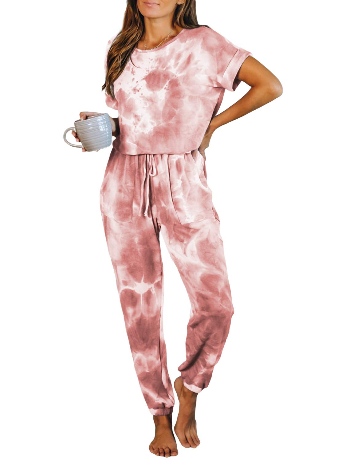 CANIKAT Women's Tie Dye Printed Crewneck Short Sleeve Jumpsuits Long Pants Nightwear Loungewear