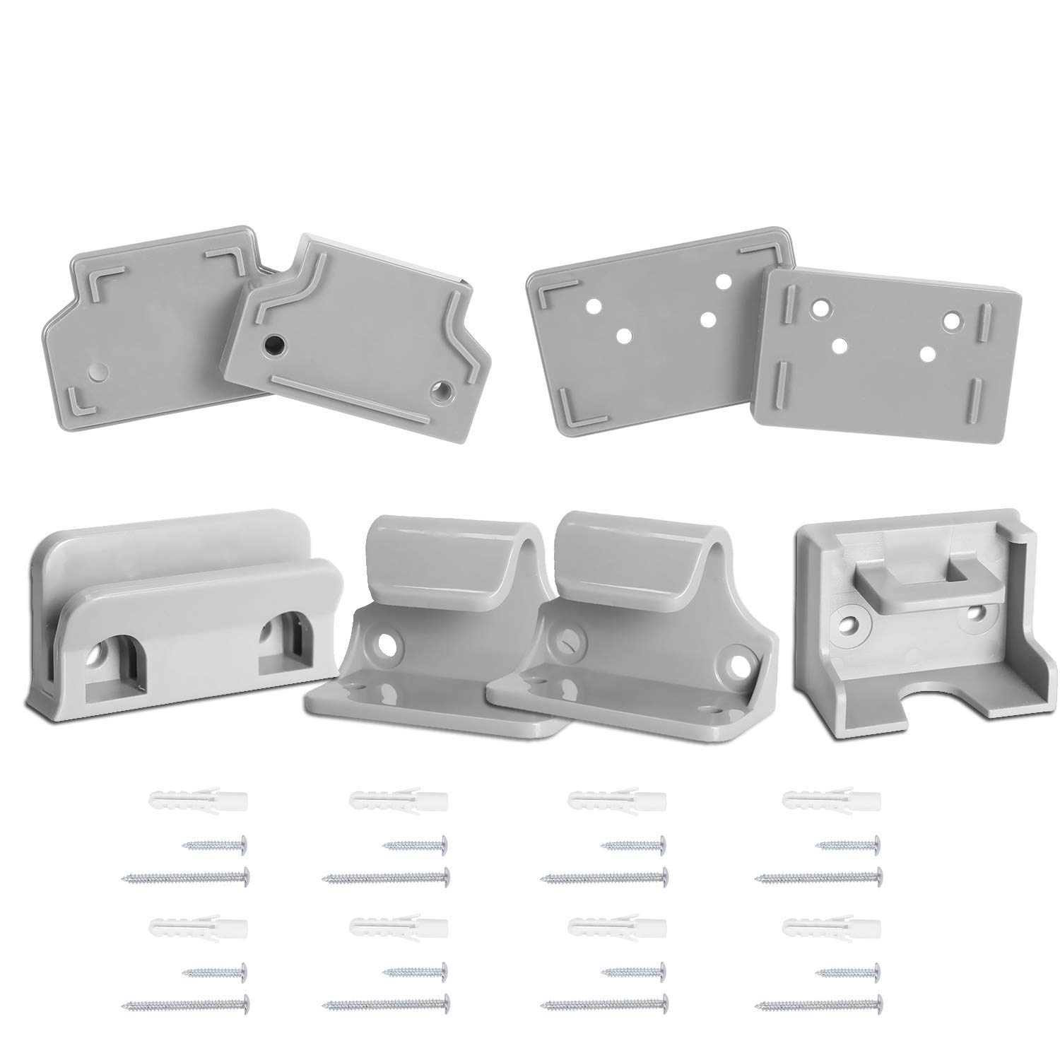 Babepai Hardware Replacement Parts Kit for Retractable Baby Gate, Full Set Wall Mounting Accessories Brackets Screws Wall Spacer Grey