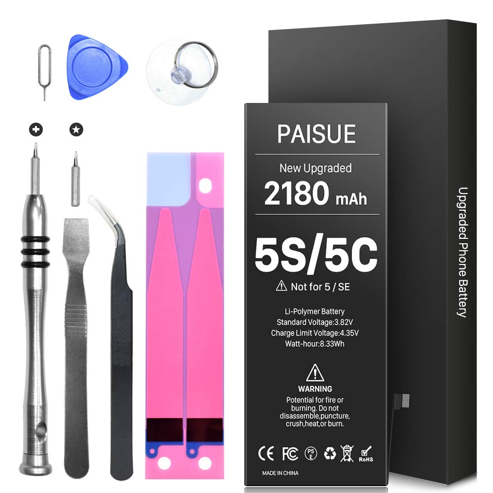 [2180mAh] Battery for iPhone 5S and 5C (not 5/SE), PAISUE New 0 Cycle Higher Capacity Battery Replacement for iPhone 5S 5C with Complete Professional Repair Tools - 2 Year Warranty