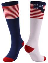 Gmall Novelty Funny Chicken Legs American Flag Cute Cartoon Knee Length Socks for Women and Men
