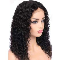 Water Wave Lace Front Wigs Human Hair Pre Plucked Deep Part Curly Lace Front Human Hair Wig, Brazilian Remy Hair Short Bob Wigs for Black Women (12 Inch 130% Density)