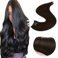 Easyouth 18inches Clip in Hair Extension Color #2 Darkest Brown (80g 7pcs) Real Clip in Hair, Human Hair Extensions for Everyday Use Clip on Human Hair