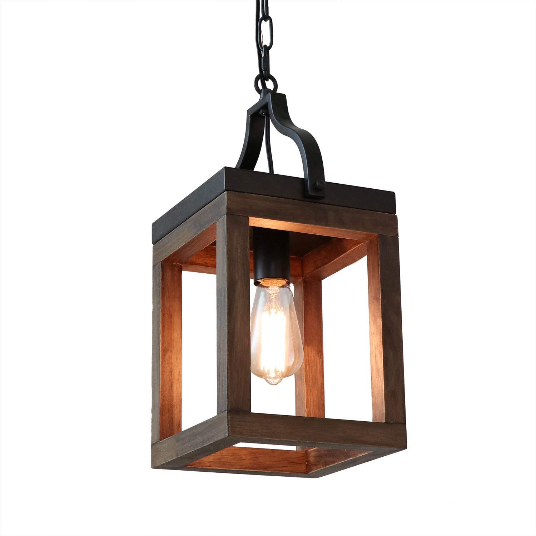 Anmytek Wood Metal Chandelier Rustic Industrial Style Rectangle Wood Frame Adjustable Chain Pendant Lighting E26 Base Bulb Hanging Light Kitchen Island Vintage Ceiling Light Fixture 1-Light (P0046)