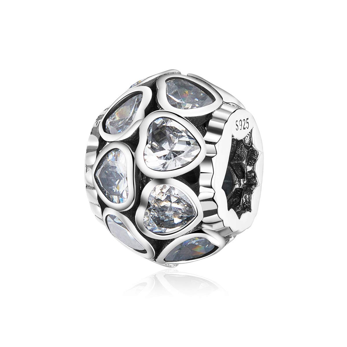 NINGAN Birthstone Love All Around Heart Bead Charms 925 Sterling Silver Happy Birthday Charm Gifts Fits Pandora & European Bracelets & Necklaces