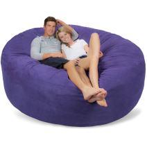 Comfy Sacks 7 ft Memory Foam Bean Bag Chair, Purple Micro Suede