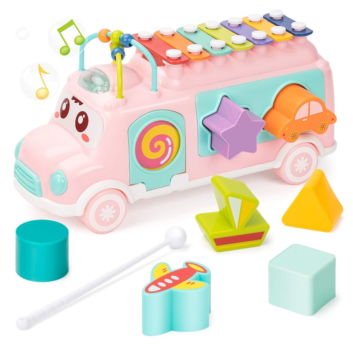 UNIH Infant Xylophone Toy - Shape Sorter Toy with Safe Mallets, Learning Educational Toys for Baby & Toddler, Push & Pull Music Toys for Over Baby 18 Months (Light Pink), Kids Birthday Gift