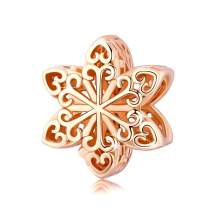 BAMOER 925 Sterling Silver Christmas Charms Snowflake Beads Charm Christmas Jewelry for Women