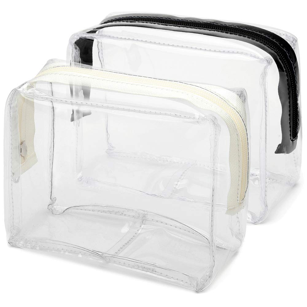 Cambond Clear Makeup Bag, TSA Approved Toiletry Bag Clear Cosmetics Bag with Zipper, Carry on Airport Airline Compliant Bag for Vacation, Bathroom, Clear Pen Case Stationery Organizer, 2 Pack