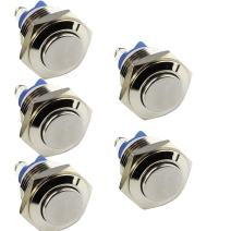 ESUPPORT Car Raised Top High 19mm Momentary Stainless Metal Push Button Switch 3A/250V 2Pin Pack of 5