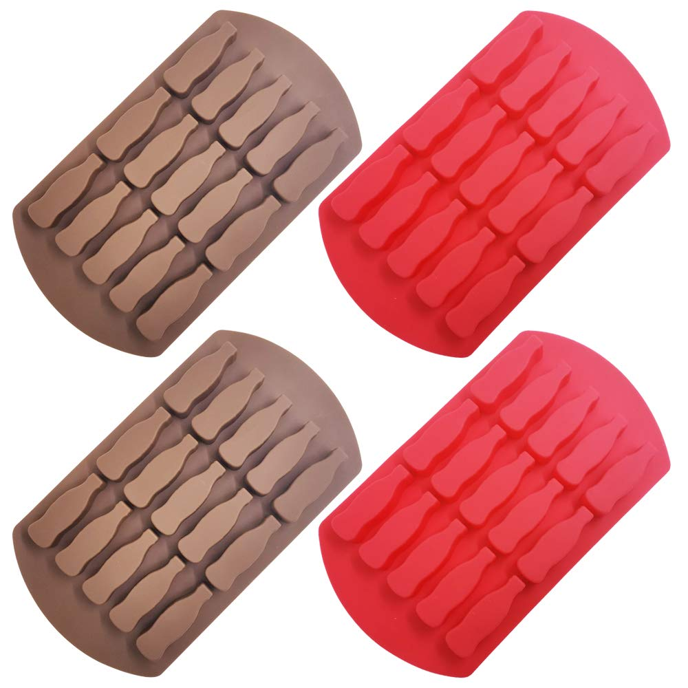 4 Pcs 15-Cavity Glass Bottle Mold,Sonku Silicone Ice Cube Tray for Chocolate Candy Gummy Jello Jelly Mini Soap Making-Red and Brown