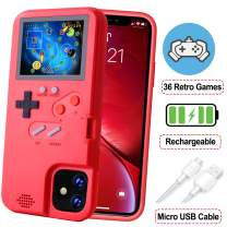 POKPOW Handheld Game Console Phone Case for iPhone 11 Case with Built in 36 Retro Games Compatible with iPhone 11 Anti-Scratch Shock Absorption Cover (Red)