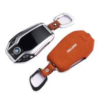 ontto for BMW 7 Series Key Cover Smart Display Remote Key Fob Case Holder Jacket Shell with Keychain Keyless Brown