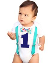 Noah's Boytique First Birthday Outfit Shirt Set Bow Tie Supenders Number One