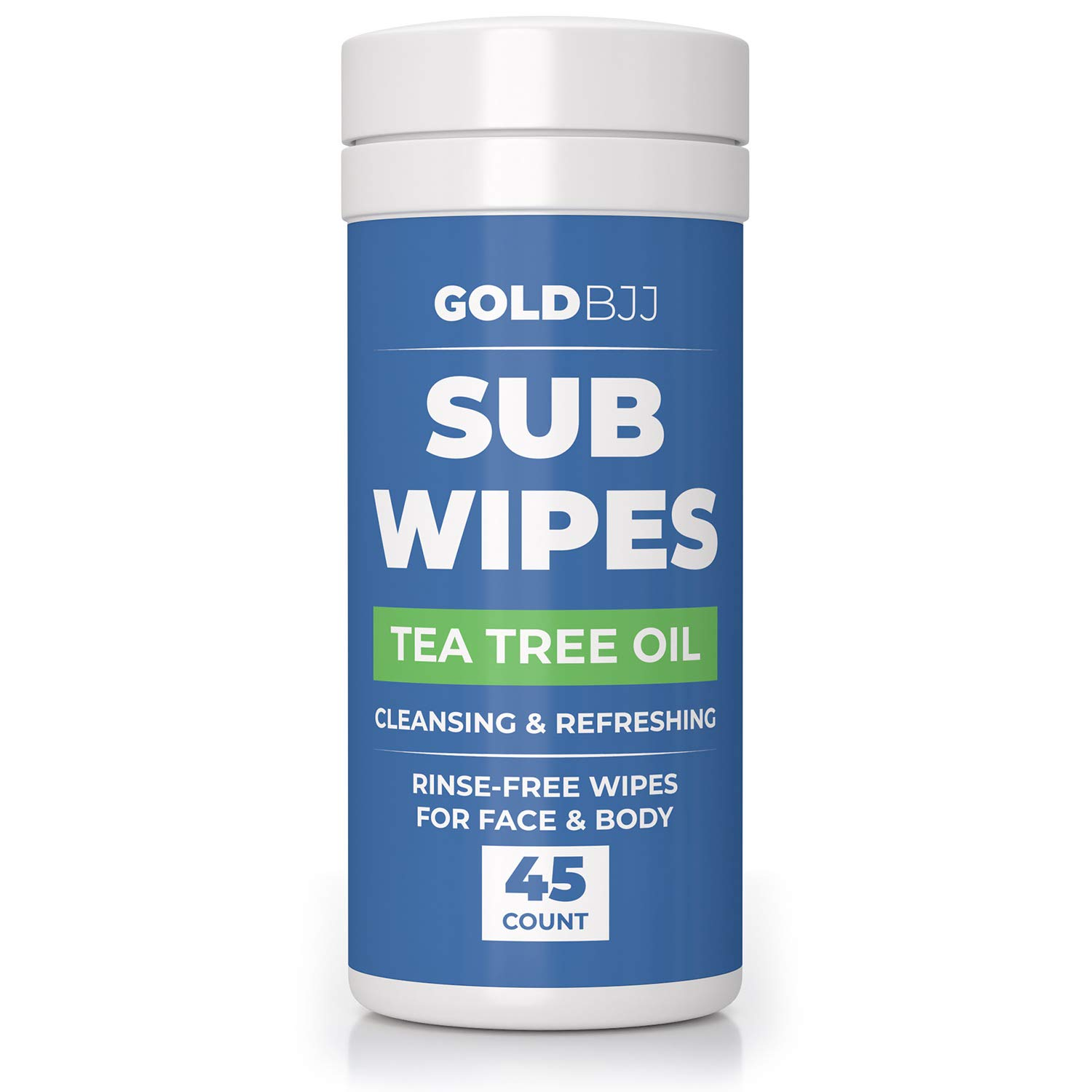 Gold BJJ Jiu Jitsu Wipes [XL 45 Count] Tea Tree Oil Face and Body Wipe - Cleansing Skin Defense for Martial Arts & Wrestling