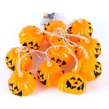 TX Christmas String Lights 10 LEDs Pumpkin Jack-O-Lantern Battery Operated Christmas Decoration Outdoor Indoor for Party (Pumpkin)