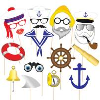 Nautical Photo Booth Props, 22pcs Assembled Sailor Photo Booth Props, Nautical Photo Props Nautical Party Supplies, Perfect for Ocean Party, Sailor Party, Anchor Party (Pre-Made, NO Need DIY)