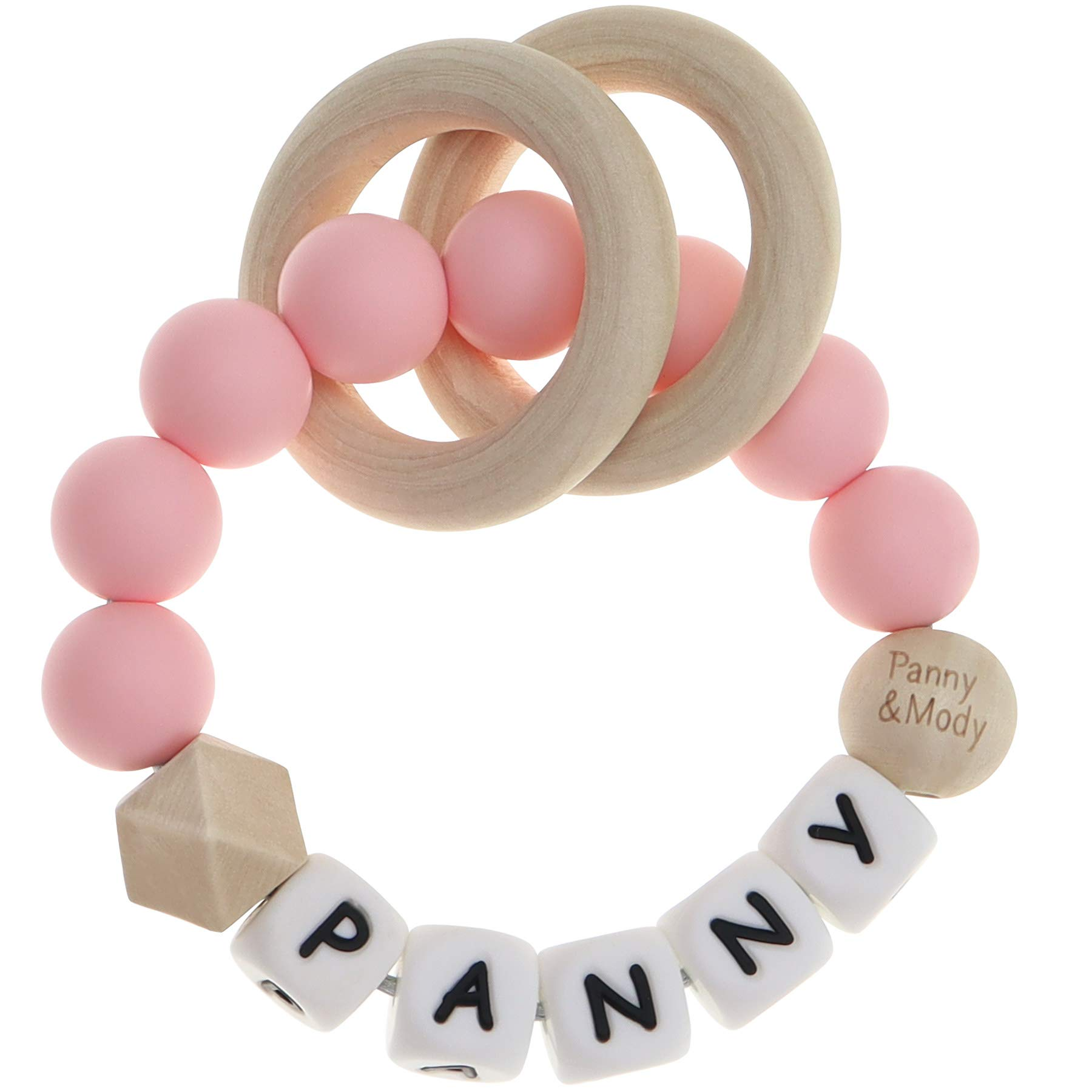 Baby Keepsake Rattles Teether Personalized Name for Girls Baby Shower - Silicone Sensory Teething Bracelet with Chewable Beads for Babies, Infants Toddler, Kids(Pink)