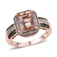 Natural Champagne 14K Rose Gold Rhodium Plated Premium Natural Champagne AAA Morganite Diamond Anniversary Wedding Bridal Engagement Halo Ring Gift Jewelry for Women Ct 2.9 G-H Color I3