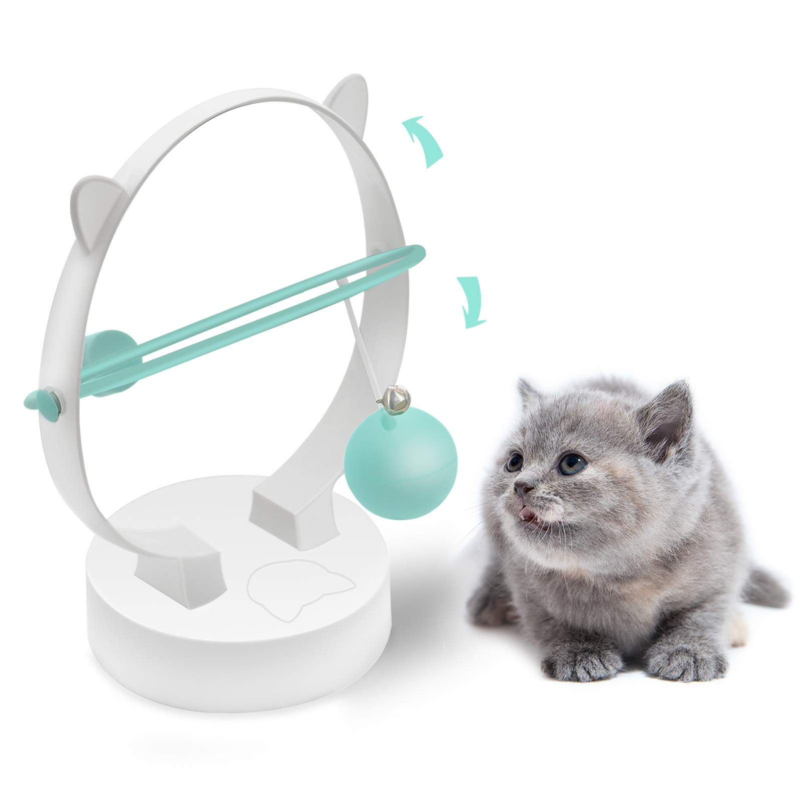 Rebnihc Cat Toys for Indoor Cats, Interative Cat Ball Toy with Two Replactment Balls, Automatic Kinetic Swing Electronic Kitten Toys,Funny Gifts for Cats