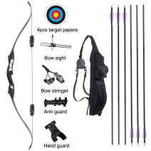"TOPARCHERY Archery 56"" Takedown Hunting Recurve Bow and Arrow Set Metal Riser Right Hand Black Longbow Kit with 6Pcs Carbon Arrows Right Hand"