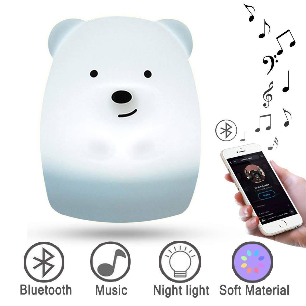 Bluetooth Music Nursery Night Lights for Kids,LED Baby Bedside Lamp -with Sound Portable and Rechargeable Infant or Toddler Cool Color Changing Nightlight