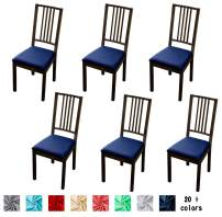 Argstar 6 Pack Soft Original Jacquard Chair Seat Cushion Cover for Kitchen, Soft Furniture Protector for Dining Chair Seat Cushion Set of 6, Navy Blue