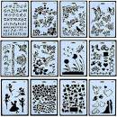 12pcs Drawing Painting Stencils Scale Template Sets 10 X 7 inch, Plastic Shapes Scrapbook Stencils Graphics Stencils for Children Creation,Scrapbooking