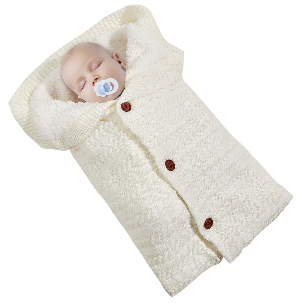 Baby Swaddle Blanket Knit Unisex Soft Thick Blanket for Toddler Warm Sleeping Bag Sleep Sack Stroller Wrap for 0-12 Month Newborn Baby Boys Girls