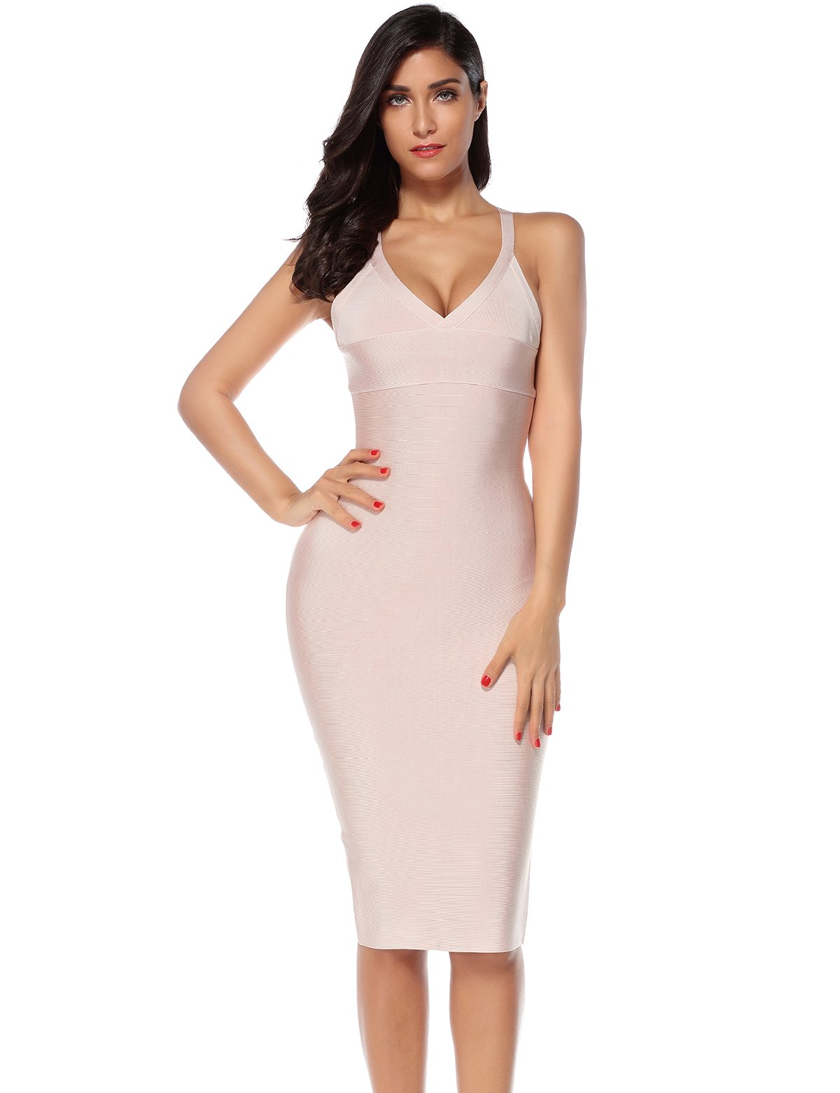 Meilun Women's V Neck Strap Midi Length Bodycon Bandage Party Dress